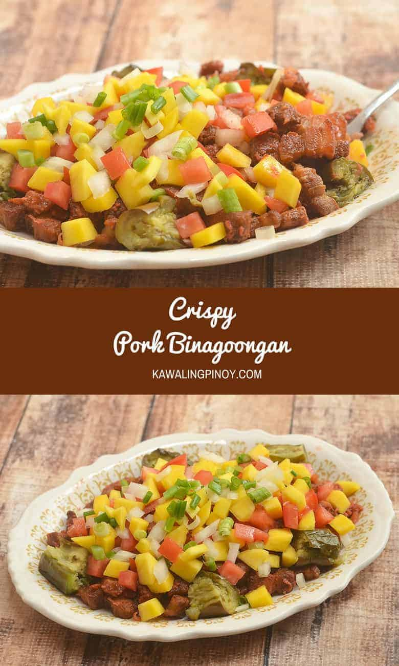 Crispy Pork Binagoongan is a delicious take on pork binagoongan. Made of crisp-fried pork cubes tossed in shrimp paste and then topped with mangoes, tomatoes, and steamed eggplant.
