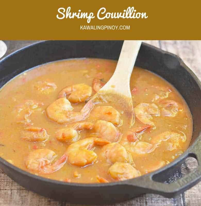 Shrimp Couvillion is a Cajun dish made with shrimps cooked in a rich tomato gravy. Hearty and full flavored, it's perfect served over rice.
