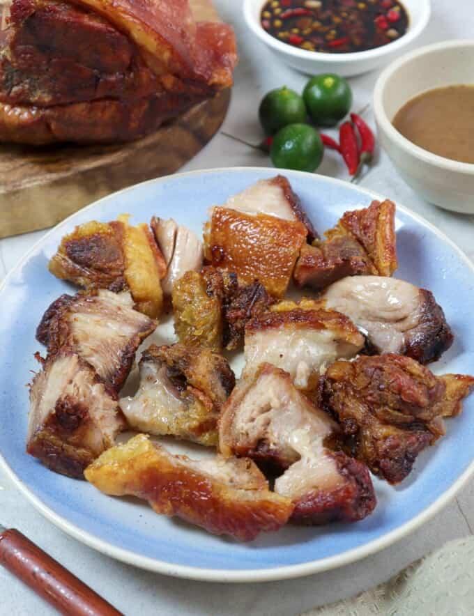 chopped crispy pork shoulder on a serving plate