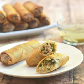 Lumpiang Galunggong is the fish version of lumpiang shanghai. Filled with flaked fish, water chestnuts, mushrooms, and celery, it's delicious and absolutely addicting dipped in spicy vinegar!