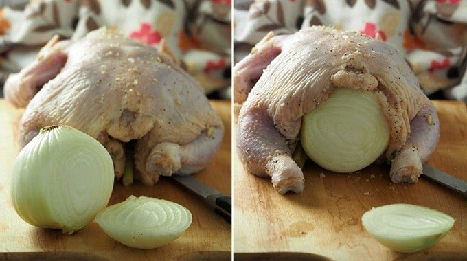 whole chicken stuffed with whole onion