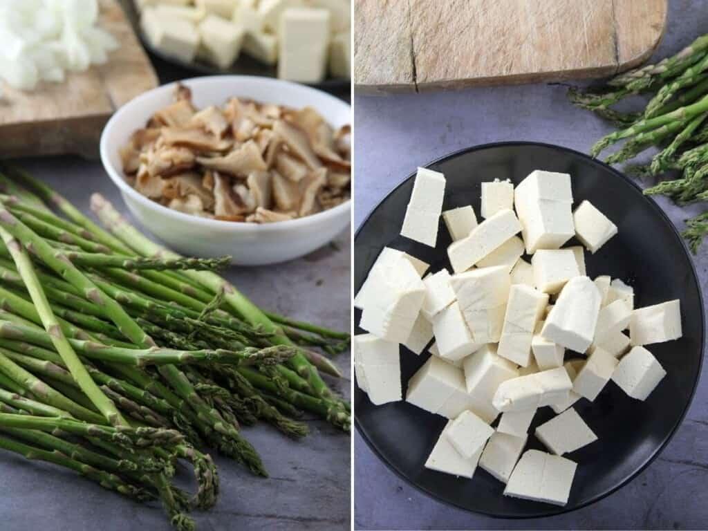 asparagus, firm tofu cubes, sliced shitake mushrooms