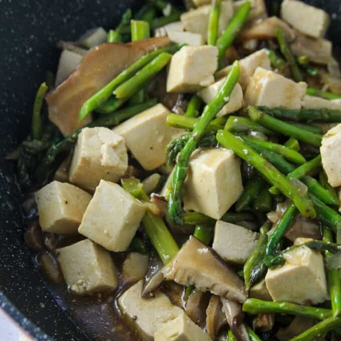 Tofu, Asparagus and Mushroom Stir-Fry in a skillet