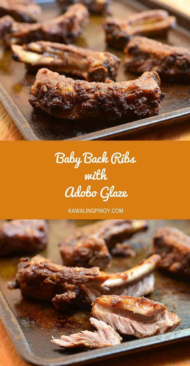 Baby back ribs with adobo glaze made with pork ribs simmered in classic adobo marinade and then finished in the oven with a topping of breadcrumbs and honey for a delightful outer crust. Fall off the bone tender and with loaded with sweet and savory adobo flavor, they're finger-licking good!