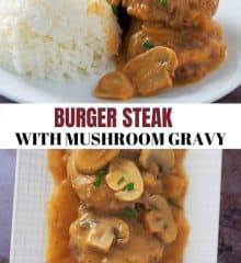 burger patties with mushroom gravy on a white serving platter
