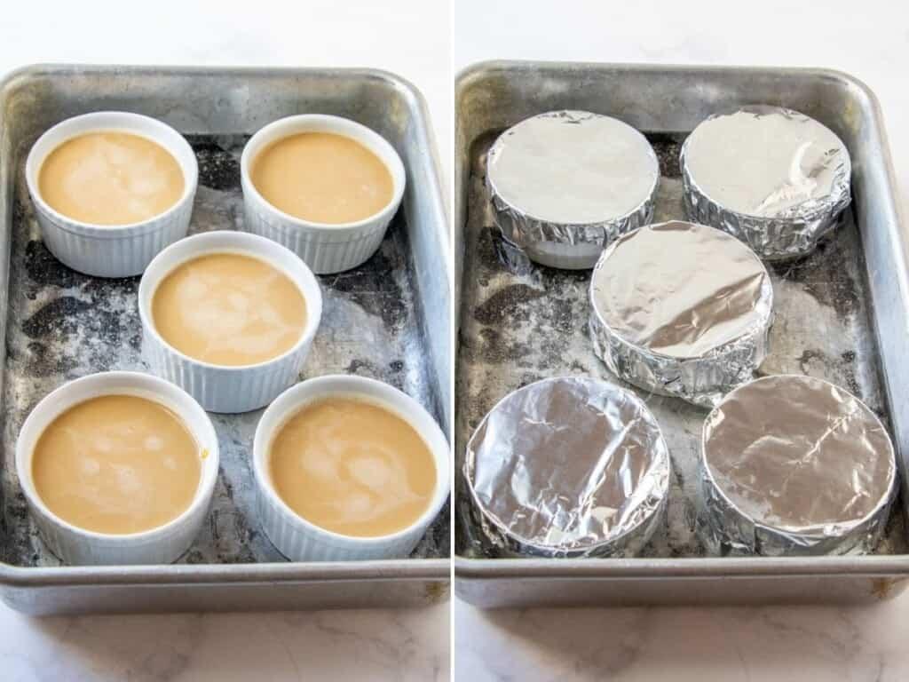 flan mixture in ramekins to bake in bain marie