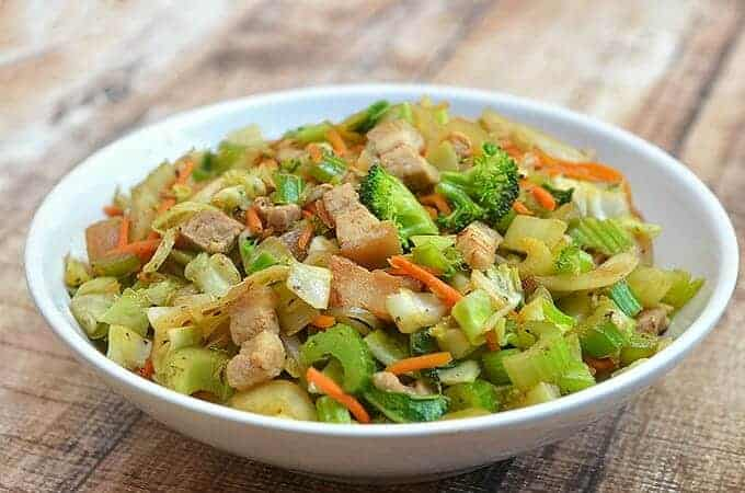 Asian Stir-fry Vegetables with juicy pork