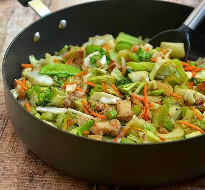 Asian Stir-fry with vegetables and tender pork strips