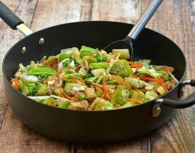 Asian Vegetable Stir Fry made easy with packaged vegetable stir-fry mix is ready in minutes and perfect for busy weeknights. A delicious medley of crisp Asian vegetables and tender pork, it's sure to be a family favorite!