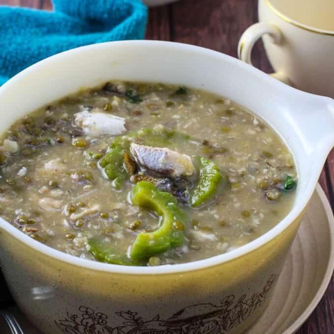 ginisang munggo at tinapa in a serving bowl