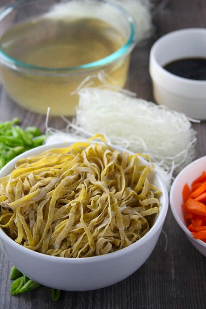 fresh egg noodles, sotanghon, julienned carrots, green beans, chicken broth, oyster sauce