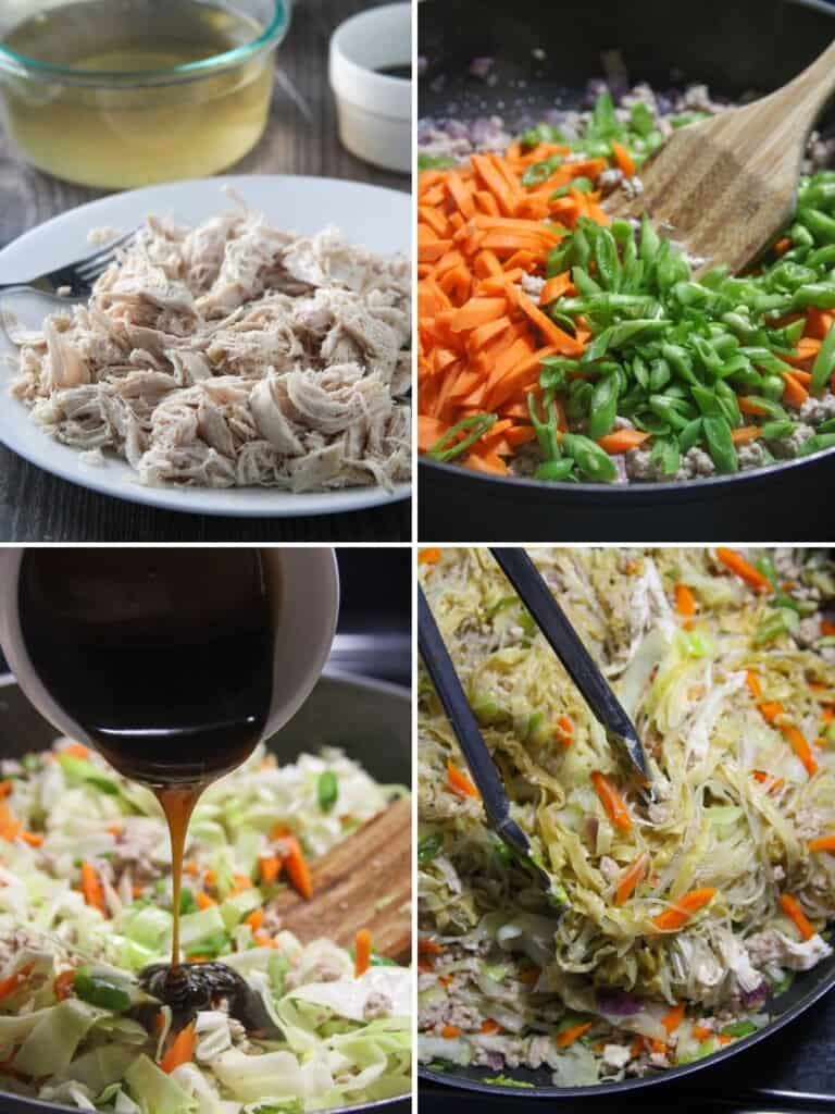cooking pancit langlang in a pan