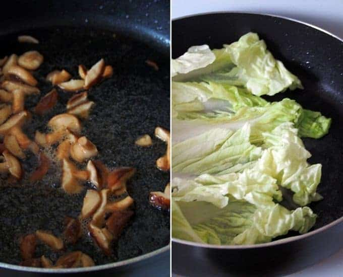 sauteeing mushrooms and Chinese vegetables in a skillet