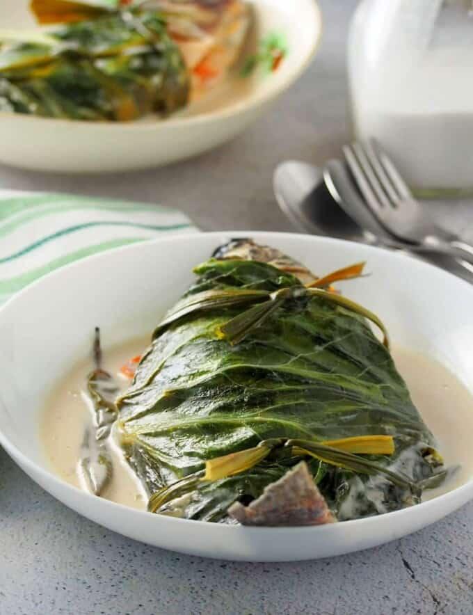 Sinanglay na Tilapia on white serving plate