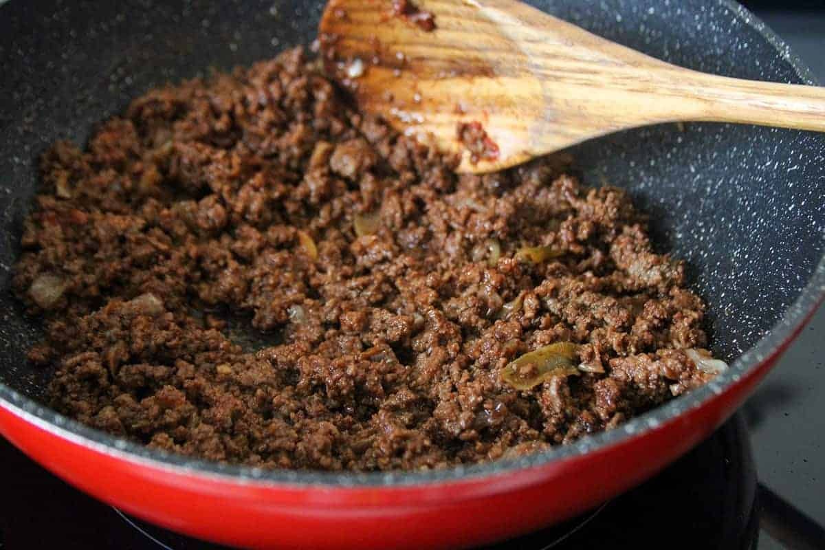 cooked taco ground beef in a skillet