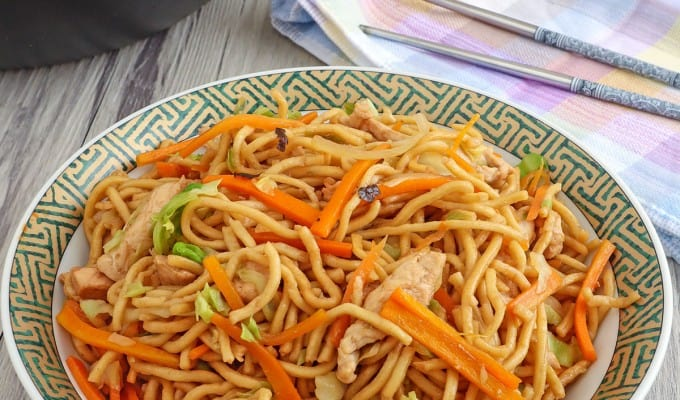 Japanese stir-fried noodles on a plate