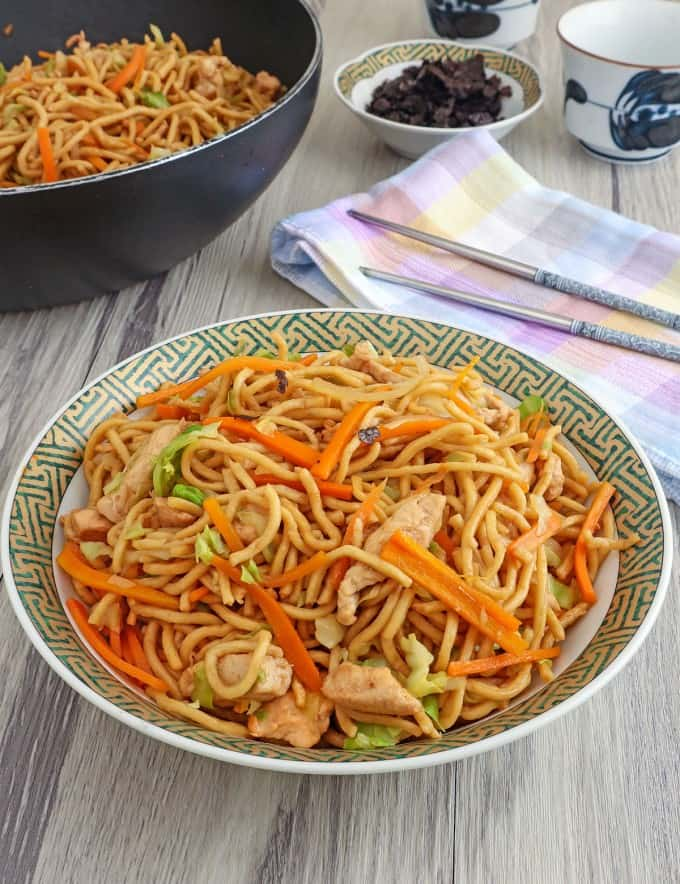 Japanese stir-fried noodles on a plate