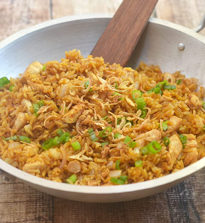 Nasi Goreng is an Indonesian Fried Rice loaded with moist chicken and sweet, spicy, and savory flavors you'll love. Ready in minutes and cooks in one pan, it's the perfect use for leftover rice and makes an amazing weeknight meal.