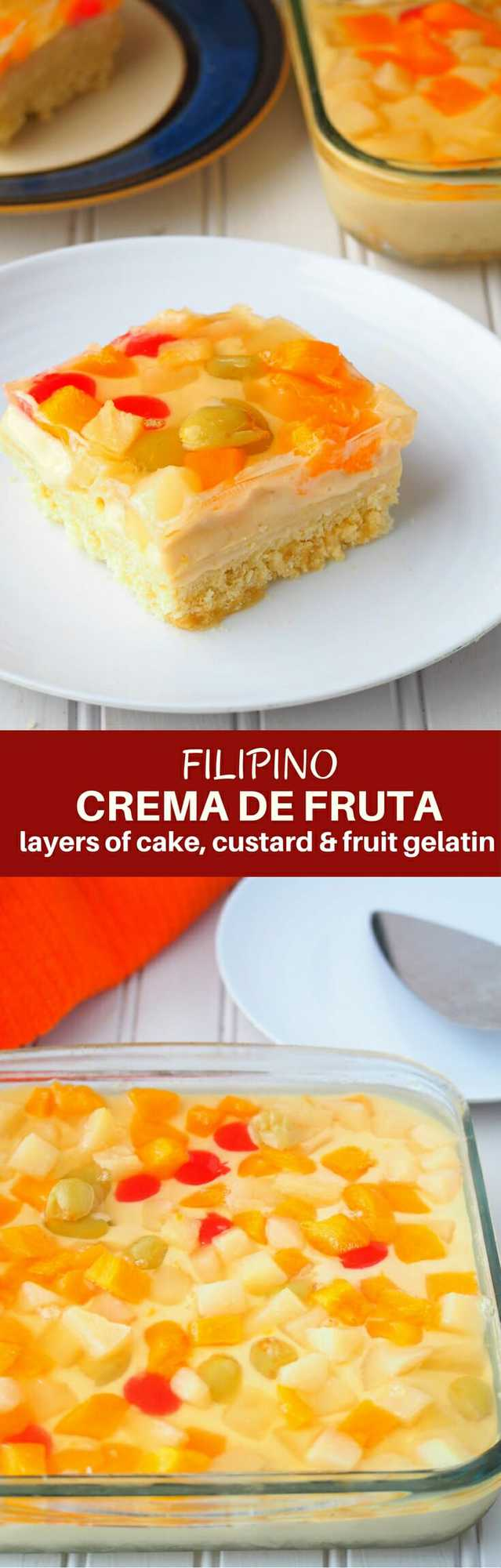 Crema de Fruta Recipe made with sponge cake, custard, and fruit gelatin is festive cake you'll love year round!