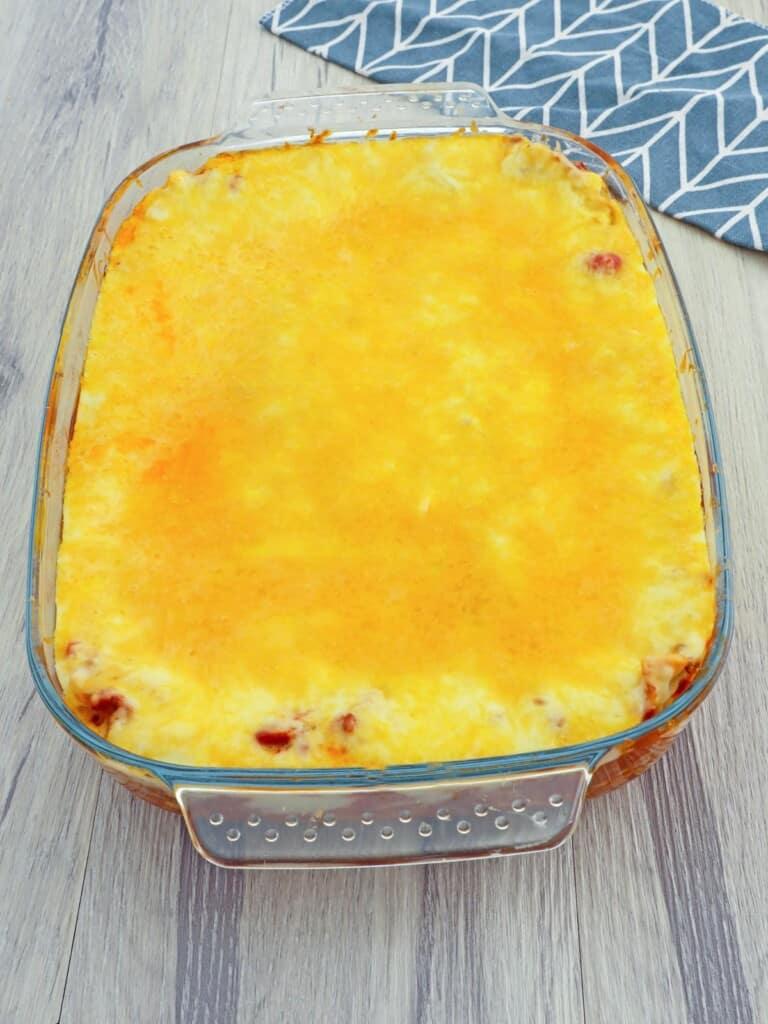 baked cheesy lasagna in baking dish