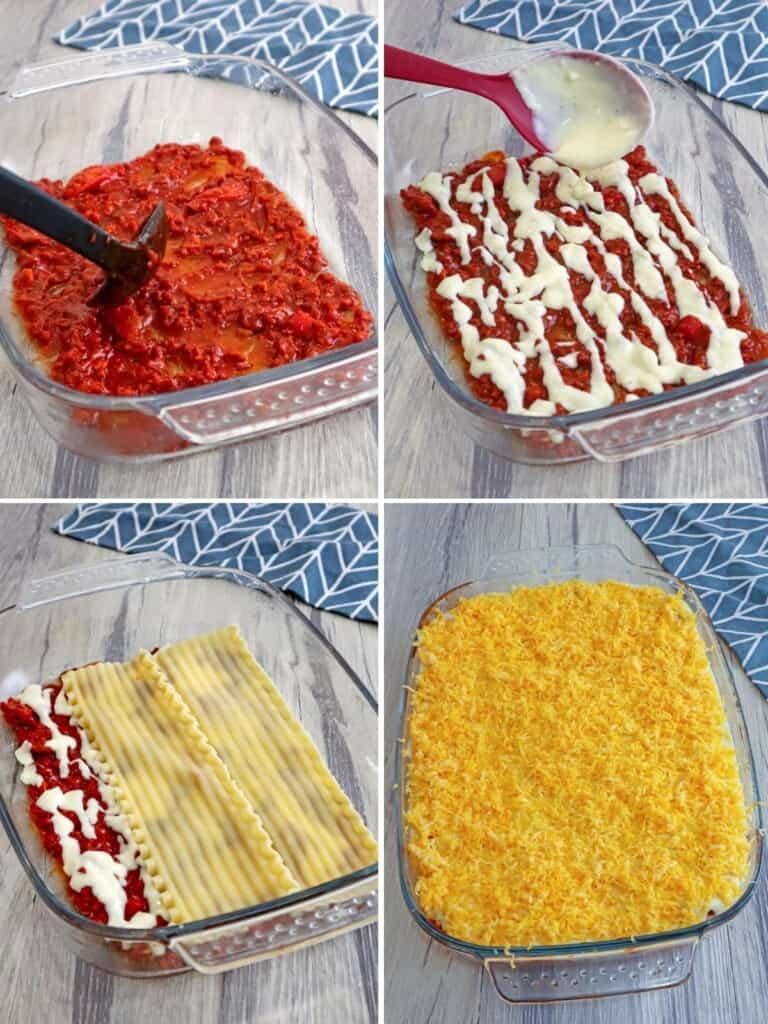 making lasagna with bechamel sauce in a baking dish