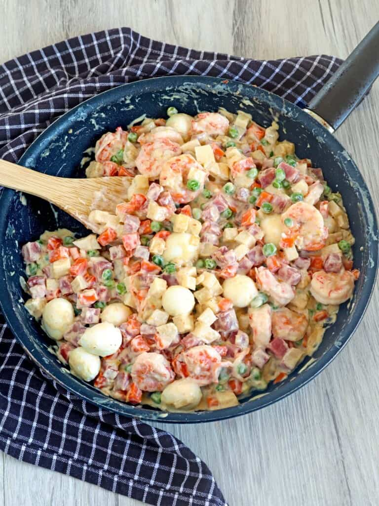 Sipo Egg with Shrimp and Ham in a skillet