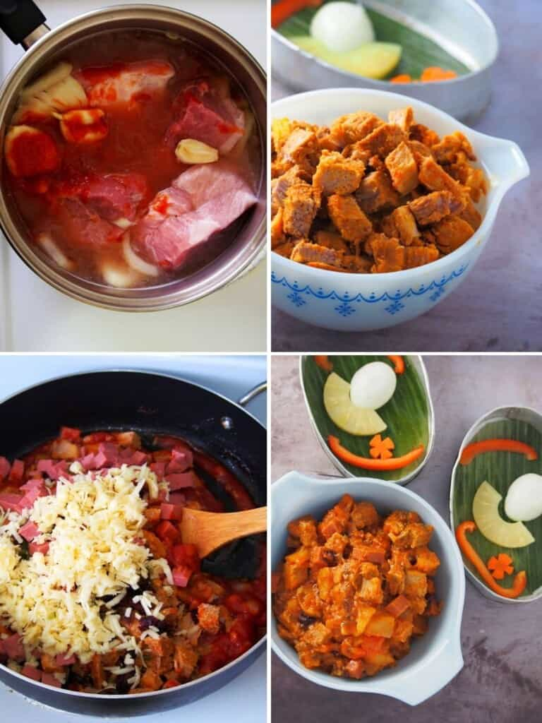 cooking pork mixture for Lucban hardinera