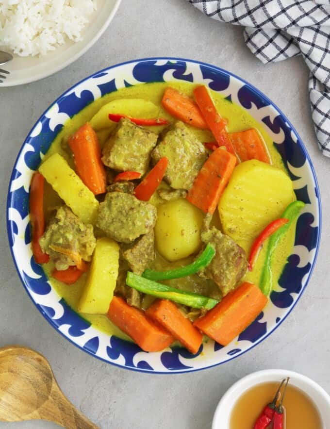 Beef Curry in a blue serving bowl