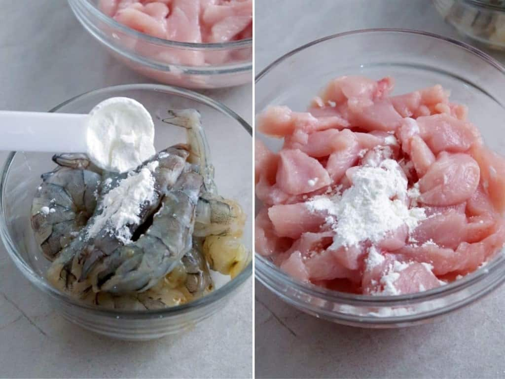 coating shrimp and chicken with cornstarch