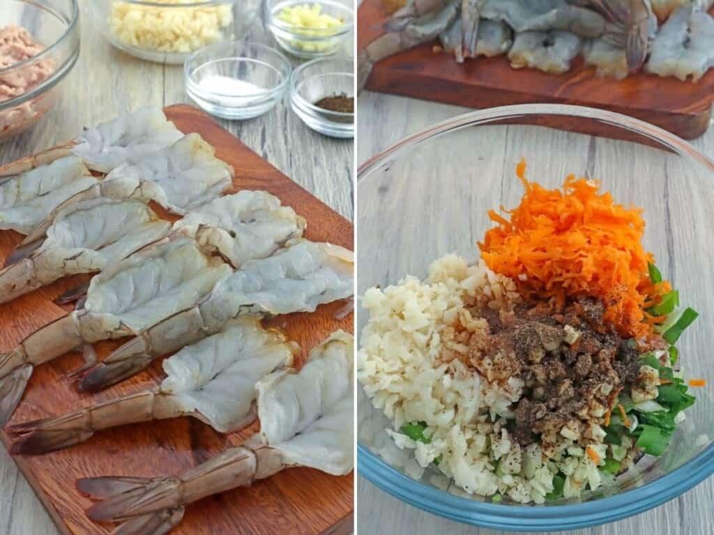 butterflied shrimp and pork filling mixture