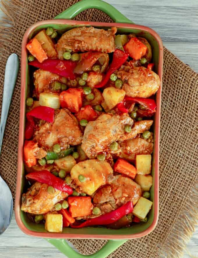 Pineapple Chicken Afritada in a serving dish