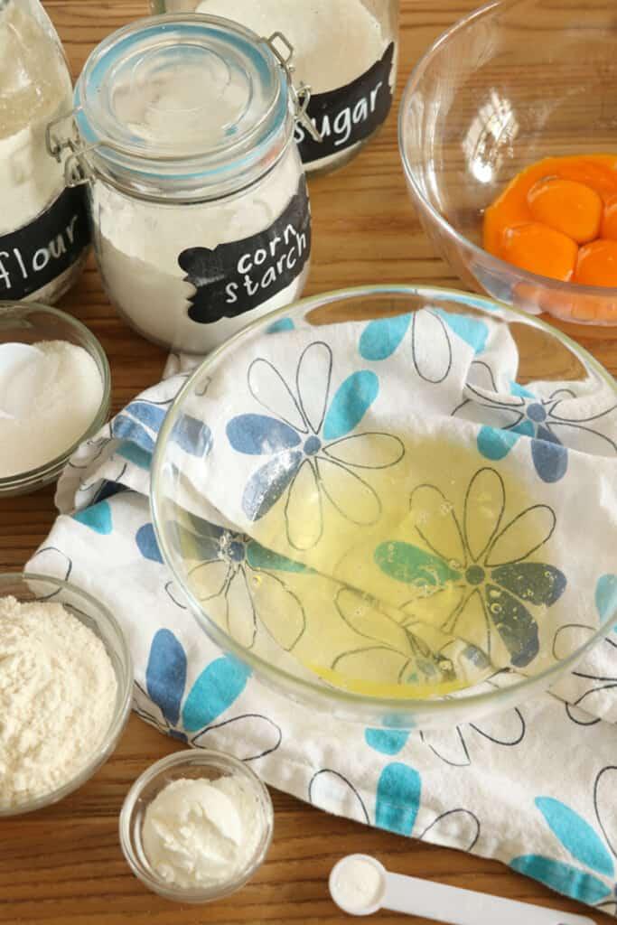 egg whites, flour, sugar, egg yolks