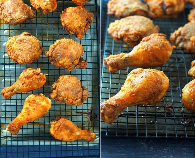 crispy fried chicken on a wire rack set over a baking sheet