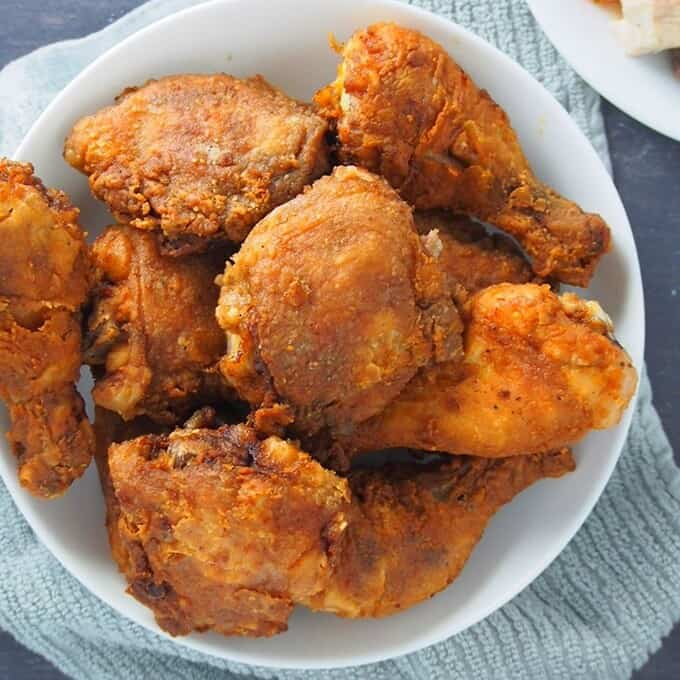 Crispy Fried Chicken on a white serving platter