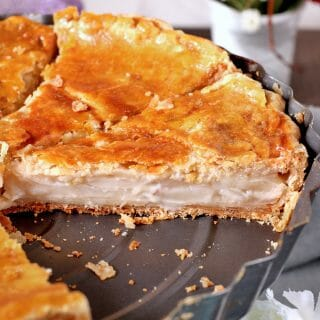 Filipino Coconut Pie made with chunks of tender buko meat in a creamy filling and flaky pie crust