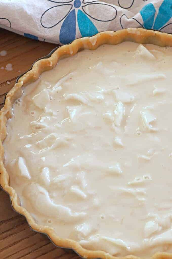 Coconut Pie filling in a pie crust