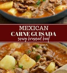 carne guisada with potatoes in a blue cast iron enameled skillet