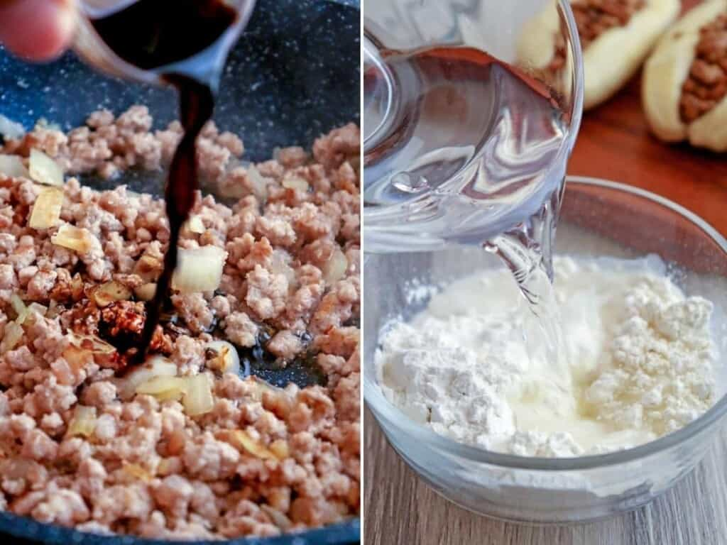 cooking ground pork filling and making a flour batter