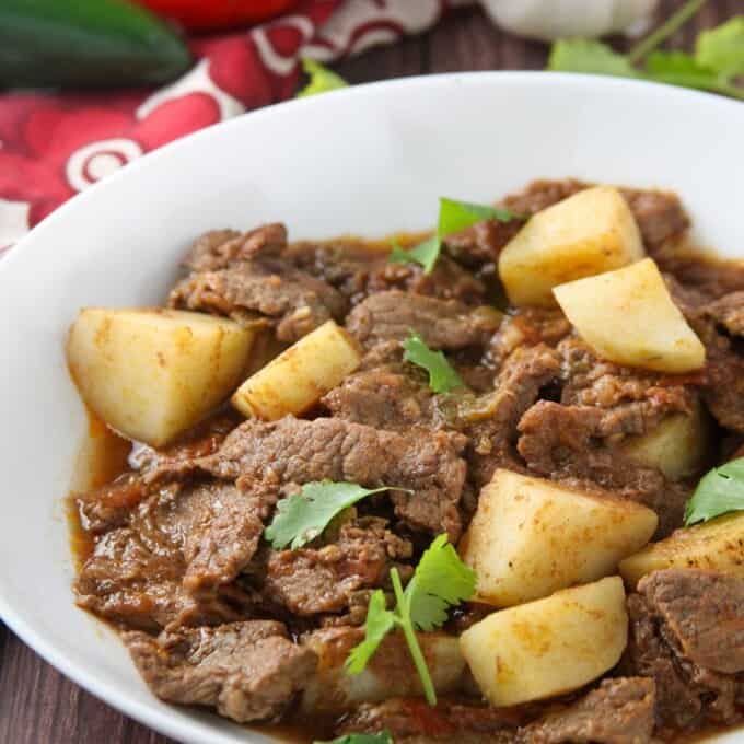carne guisada in a white serving bowl