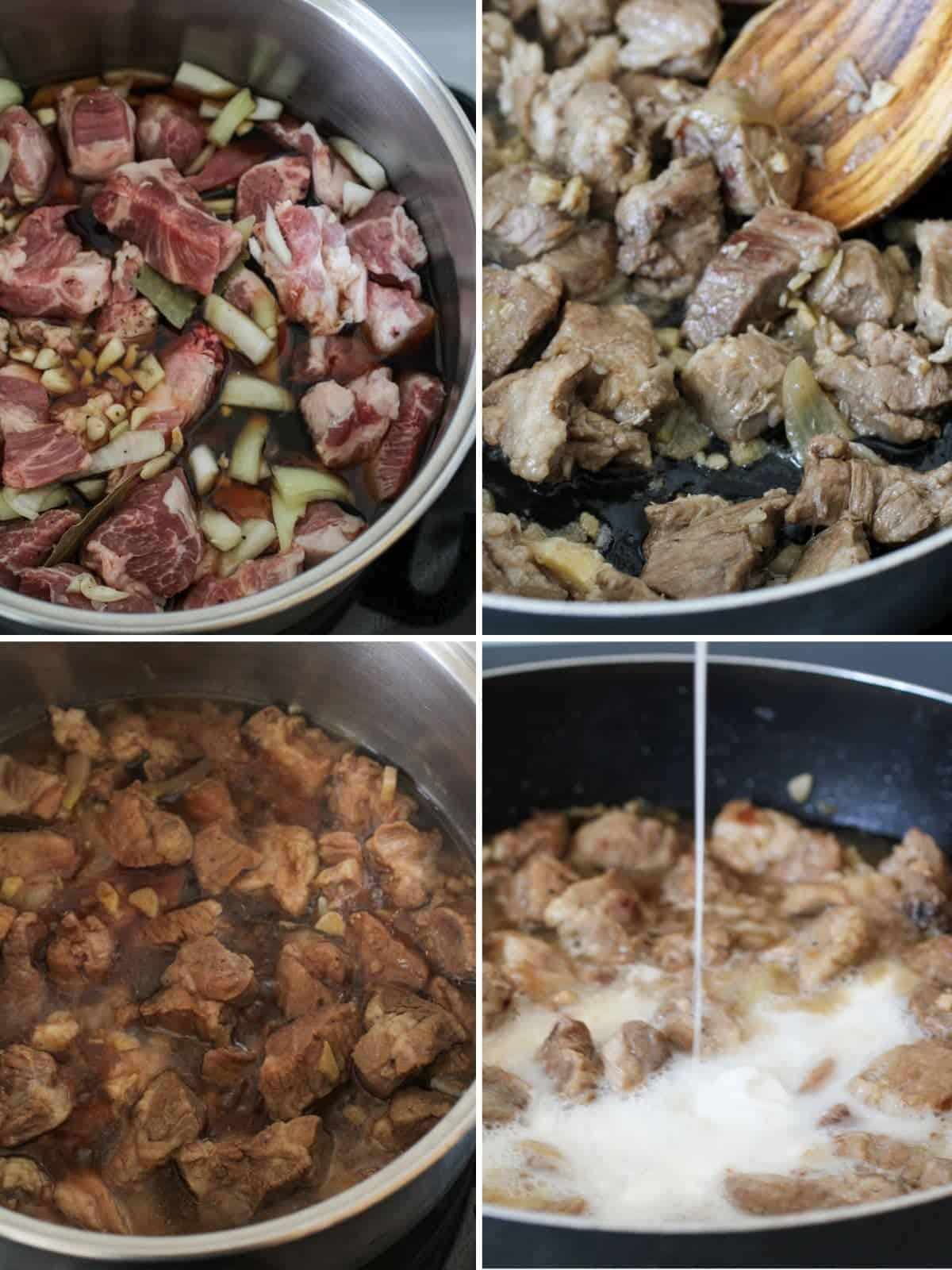 cooking adobo sa gata in a pan