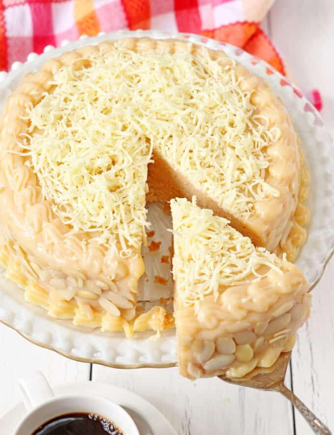sliced Yema cake on a cake platter