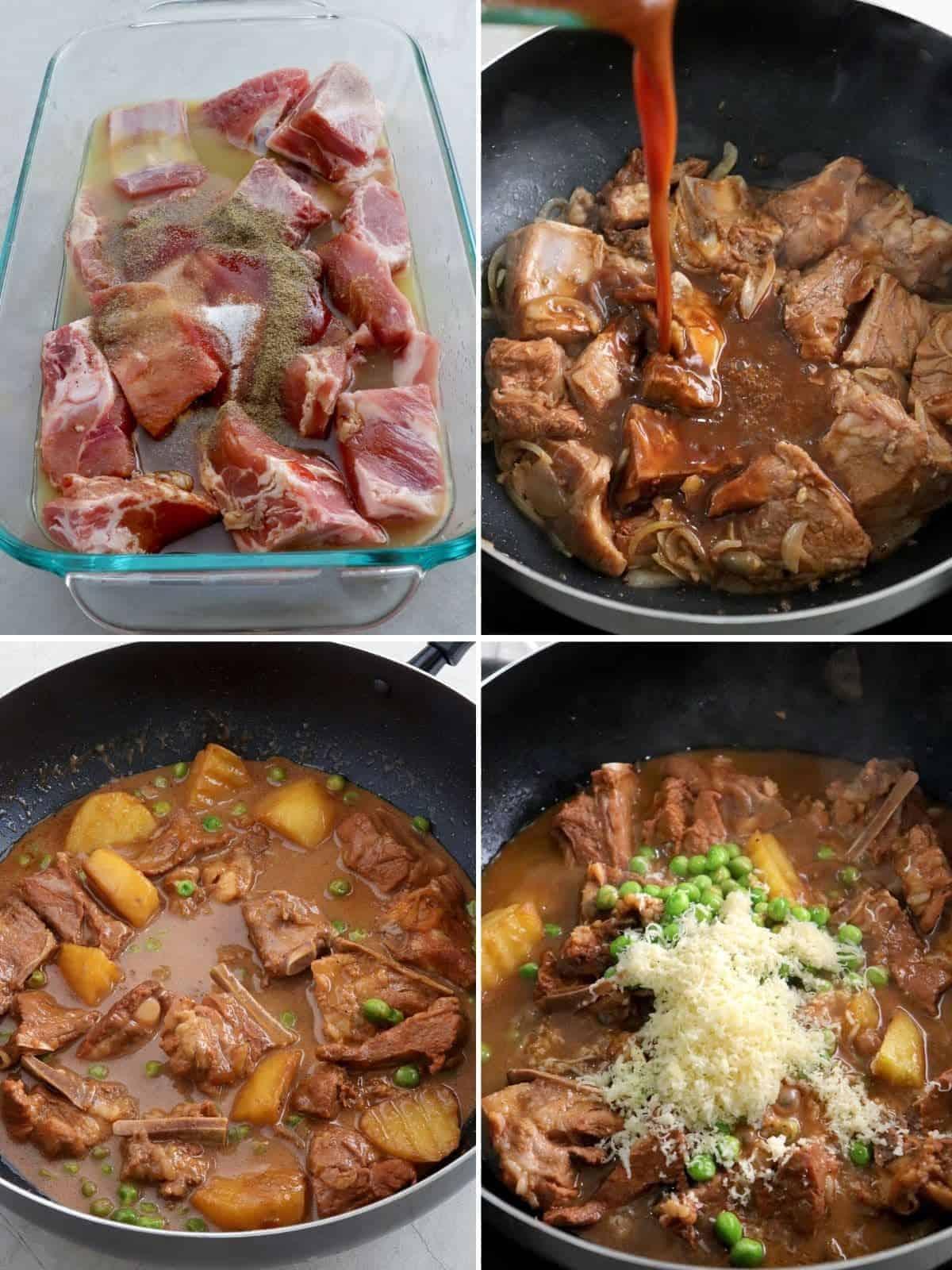 cooking Quezon Province pork kaldereta in a skillet