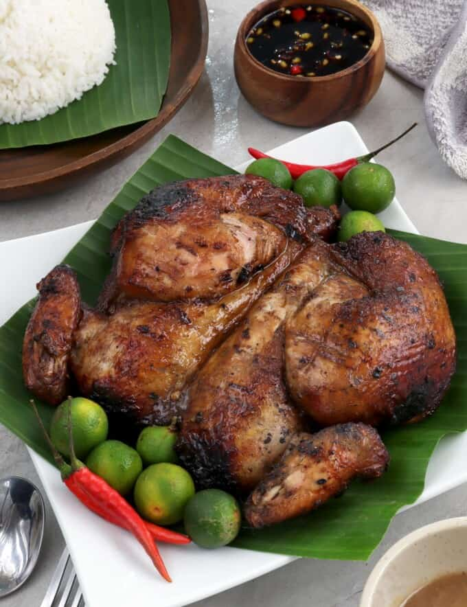 Filipino-style Barbecue Chicken on a banana leaf-lined plate