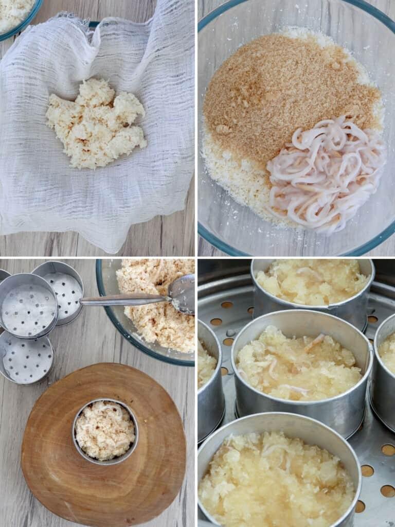 preparing cassava to make puto lanson