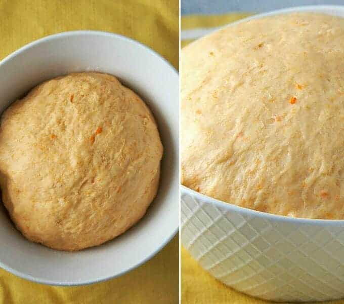 Allow the dough for the sweet potato rolls to rest and rise in a large bowl.
