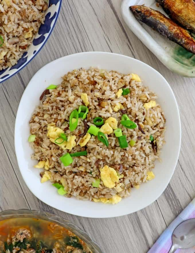 Tinapa Fried Rice on a white serving plate