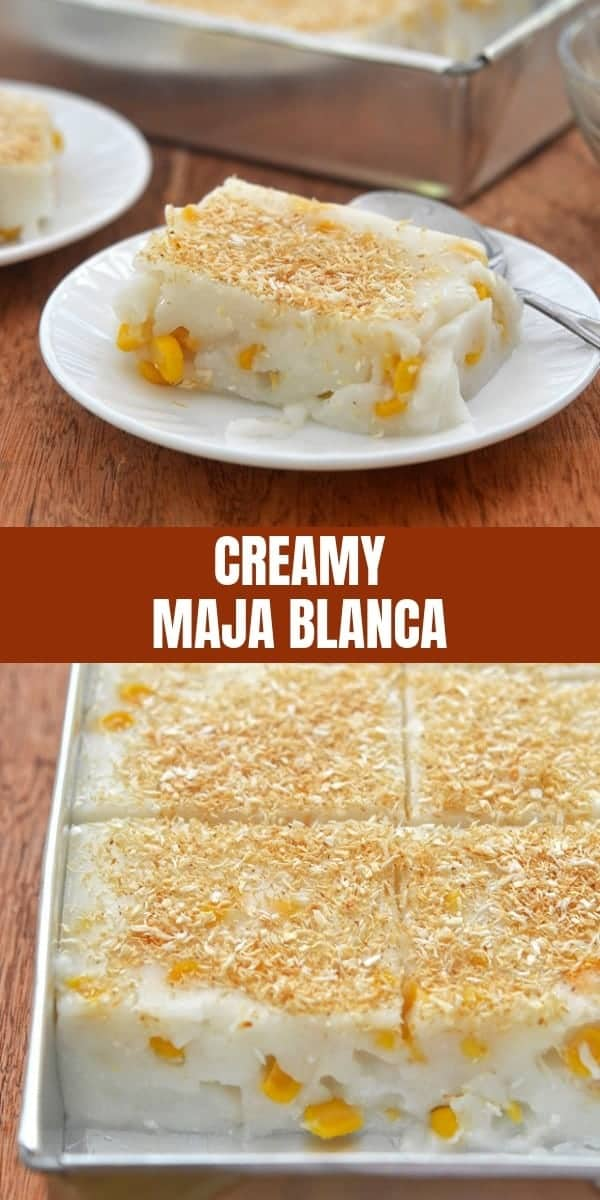 Maja Blanca on white serving plates