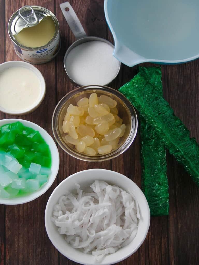 shredded young coconut, agar-agar bars, kaong, nata de coco, condensed milk, coconut juice, all-purpose cream