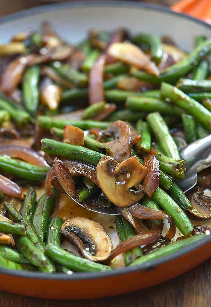 Asian Green Bean Stir-fry with mushrooms