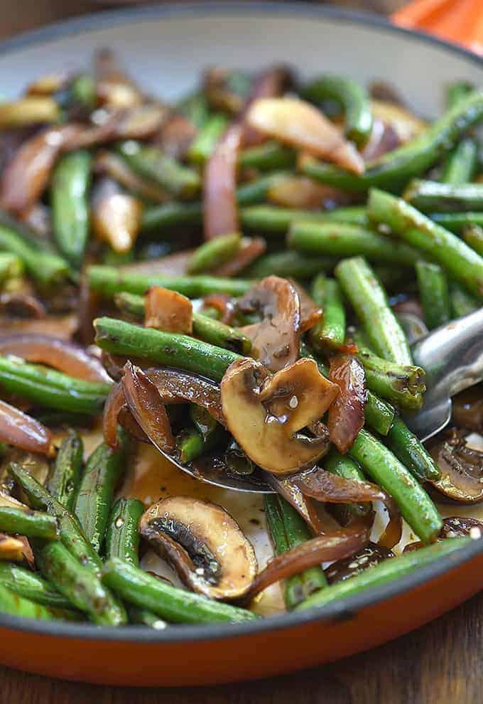 Asian Green Bean Stir-fry with mushrooms